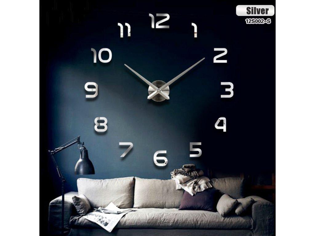 33890 designove 3d nalepovaci hodiny 80 120cm stribrna kx7844