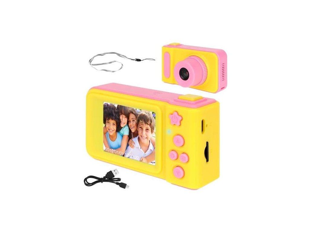 29015 12 detsky digitalni fotoaparat 2gb ruzovo zluta 8940