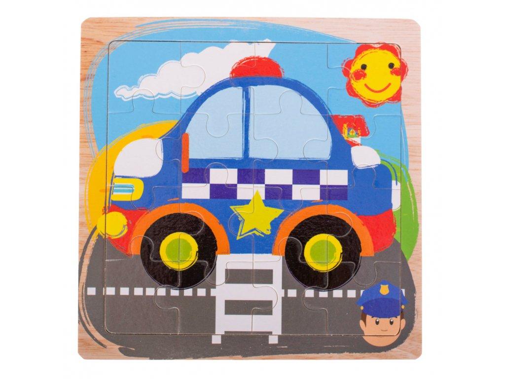 35591 1 kik kx7256 drevene puzzle policie 15x15cm 16 dilku