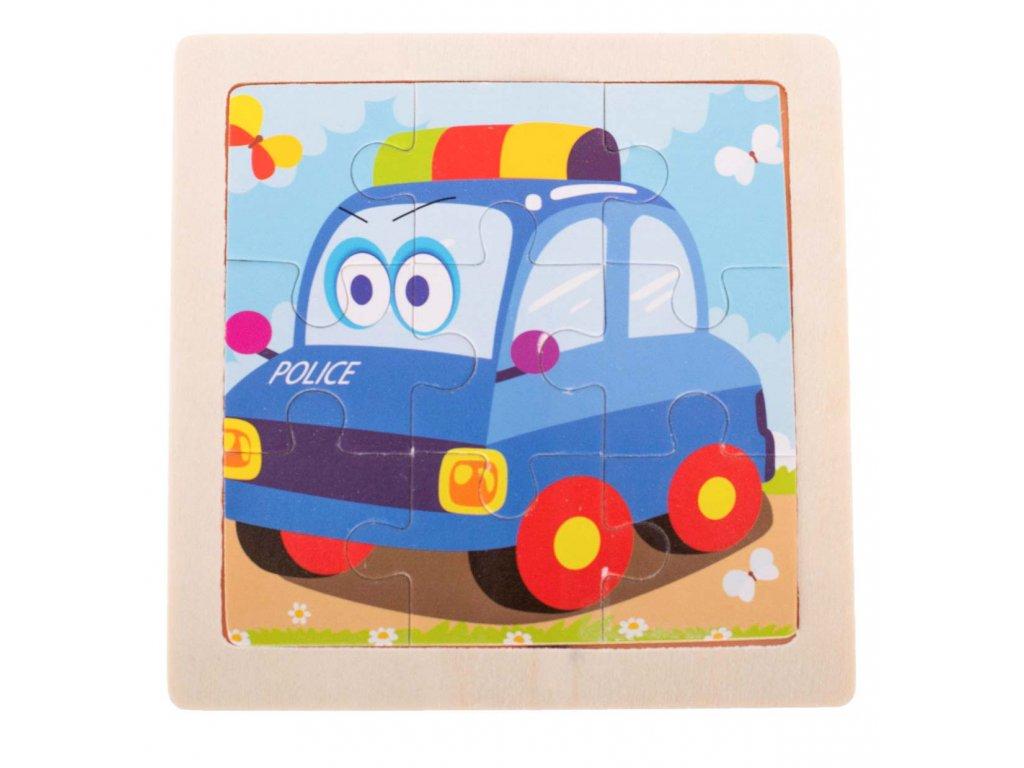 35618 1 kik kx7265 drevene puzzle policie 11x11cm 9 dilku