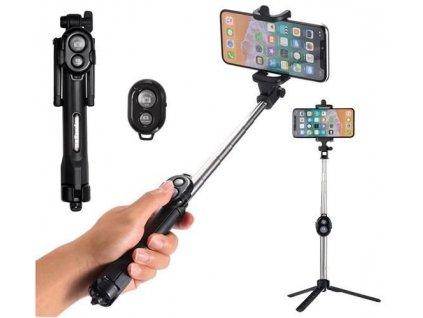 24932 10 selfie tyc a stativ s bluetooth ovladacem 2v1 cerna 8689