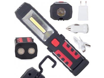 pol pl Lampa latarka warsztatowa 3w1 led cob akumulator 2660 9