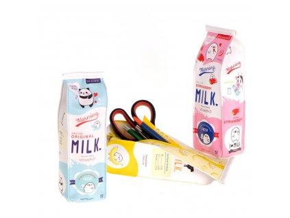 34892 7 skolni pouzdro penal ve tvaru krabice na mleko modra kx6816