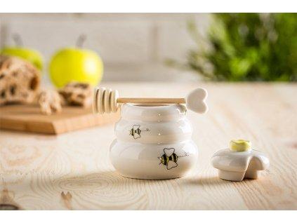 eng pl Porcelain honey pot with wooden dipper 1332 4