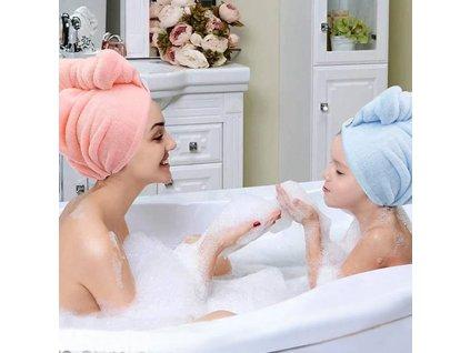 58722 4 rychleschnouci turban na hlavu ruzovy