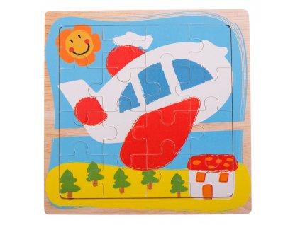 35588 1 kik kx7255 drevene puzzle letadlo 15x15cm 16 dilku