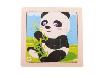 35597 1 kik kx7258 drevene puzzle panda 11x11cm 9 dilku