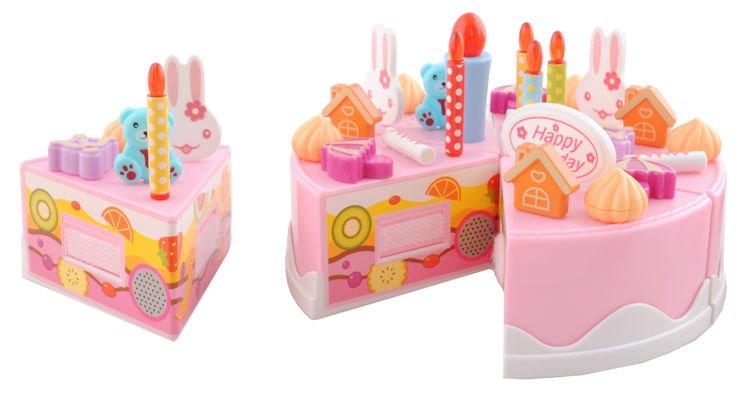 ISO Detský plastový narodeninovú tortu ružový 75 dielov, 4504