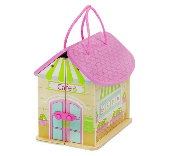 ISO Drevený prenosný domček pre bábiky, 6522