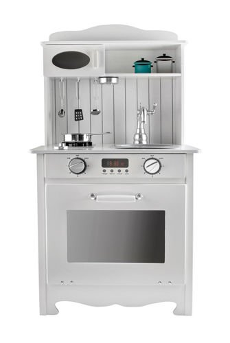 Kruzzel Detská drevená kuchynka s LED a príslušenstvom, biela, 9146