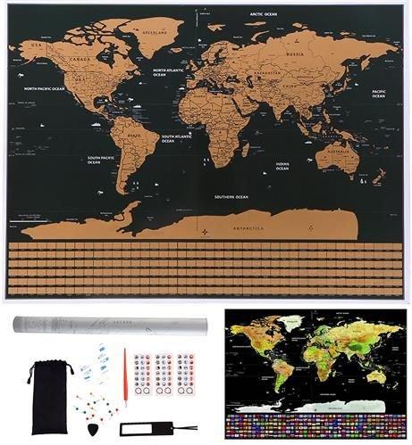 ISO Stieracie mapa sveta s vlajkami 82 x 59 cm s príslušenstvom, čierna, 9410