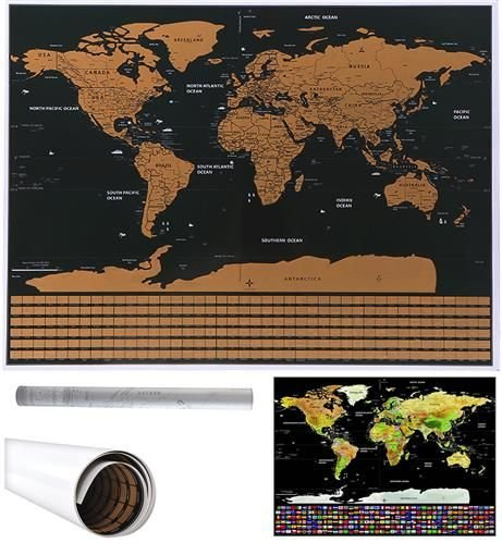 ISO Stieracie mapa sveta s vlajkami 82 x 59 cm, čierna, 9409