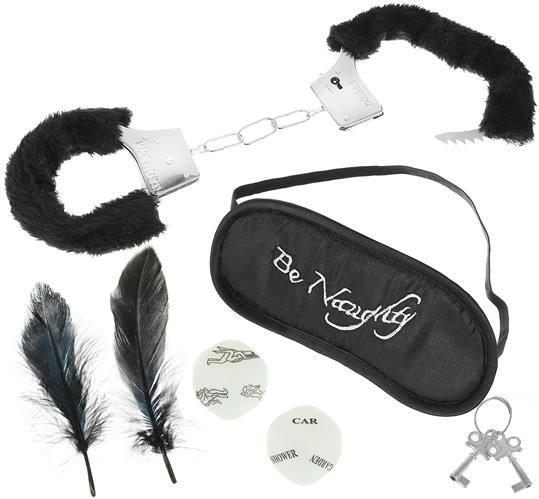 ISO Erotický set - plyšová putá, kocky, pierko a maska - čierny, 8874