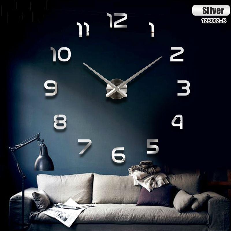 KIK Dizajnové 3D nalepovacie hodiny 80-120cm, strieborná, KX7844