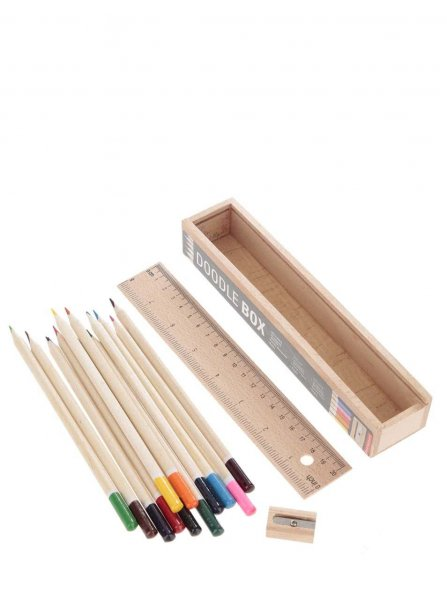 UD Drevený box s 12 pastelkami a pravítkom