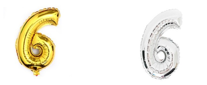 KIK Nafukovací balónik Číslice 6 - 40cm strieborná, zlatá, KX6813_6