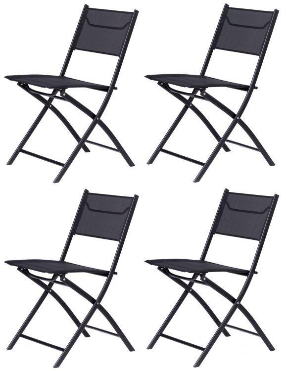 ModernHome Záhradné stoličky na terasu a balkón 4 ks - čierne, WR1654-4