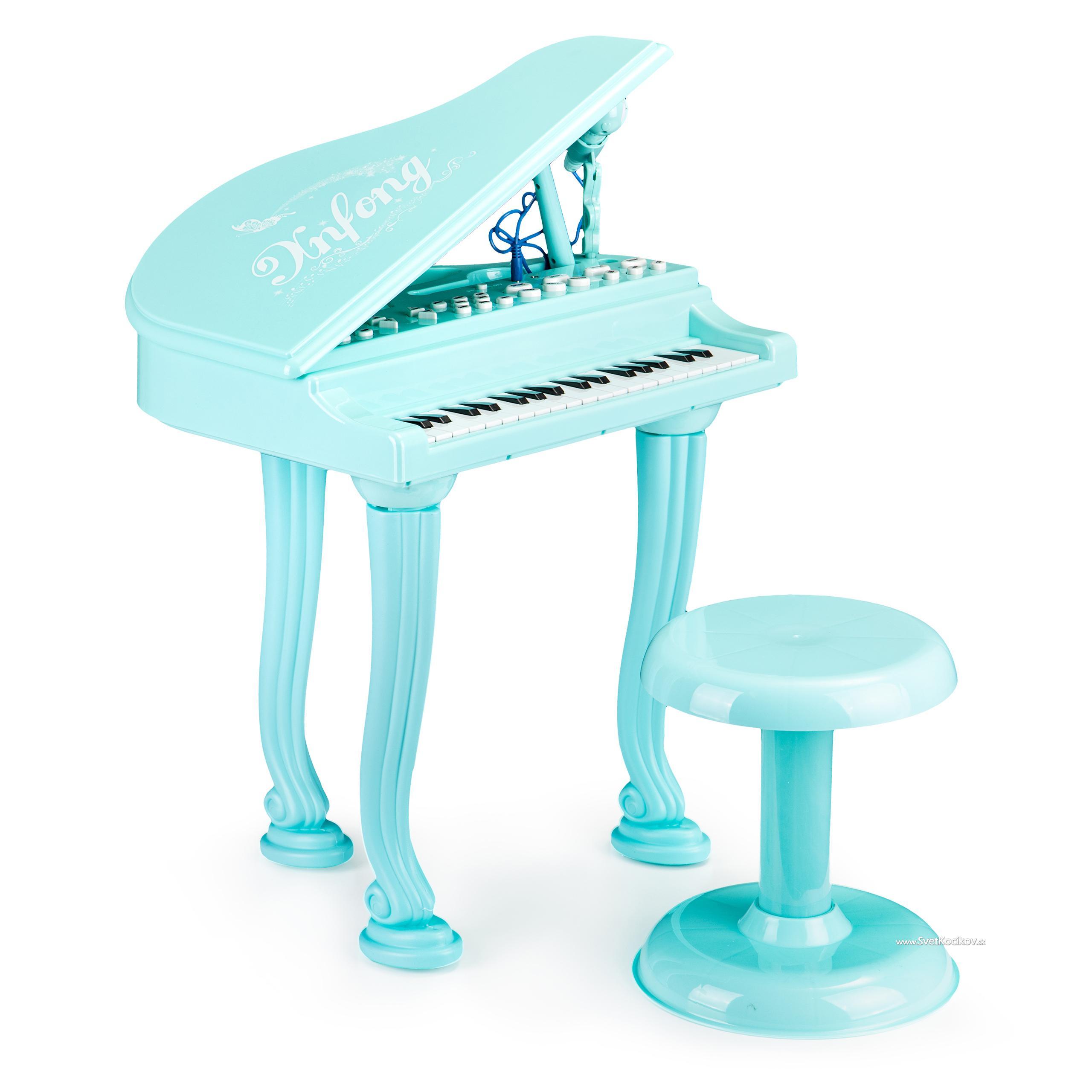 EcoToys Fortepiano organki keyboard pianíno s mikrofónom mp3, modrá HC490481