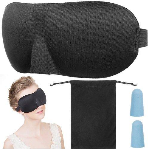 ISO Maska na spanie 3D, štuple do uší, čierna, 11848