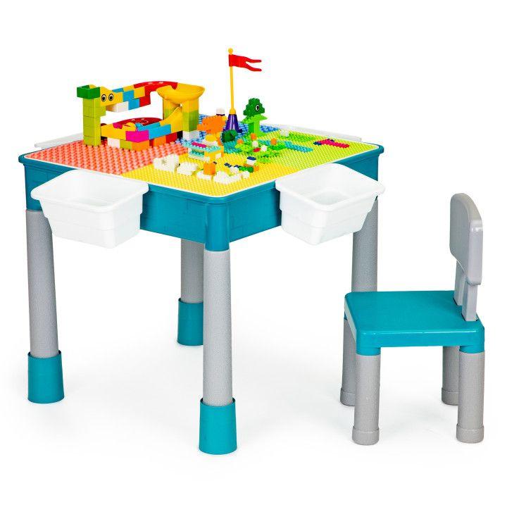 EcoToys Stôl na hranie, stoličky, kocky pre deti, HC464898