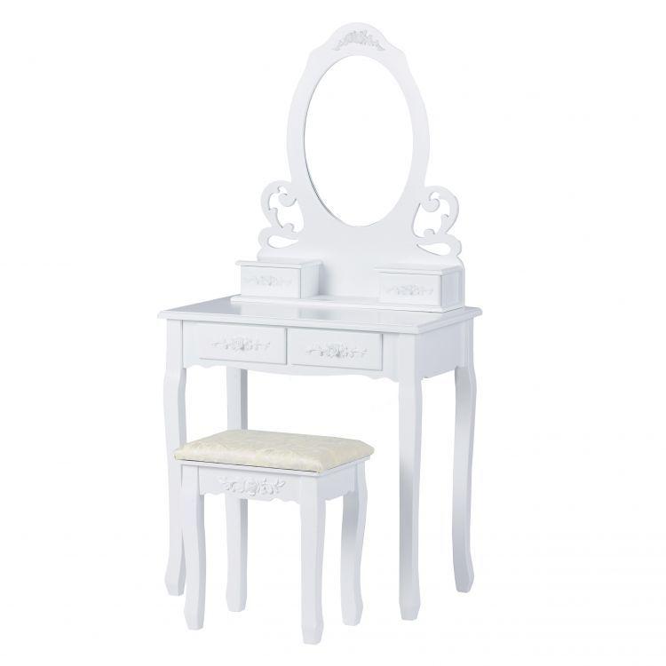 ModernHome Toaletný stolík so zrkadlom a stoličkou, W-HY-007