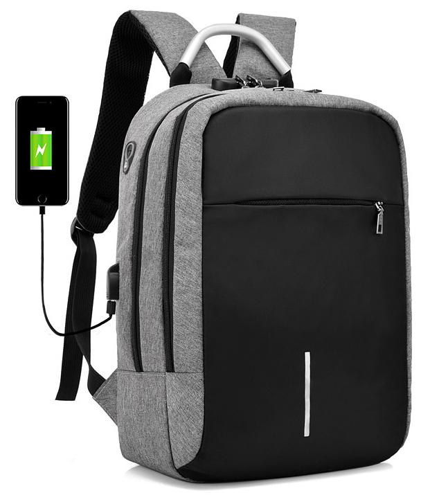 GT Bezpečnostné batoh proti krádeži s USB - šedo-čierny, K403E
