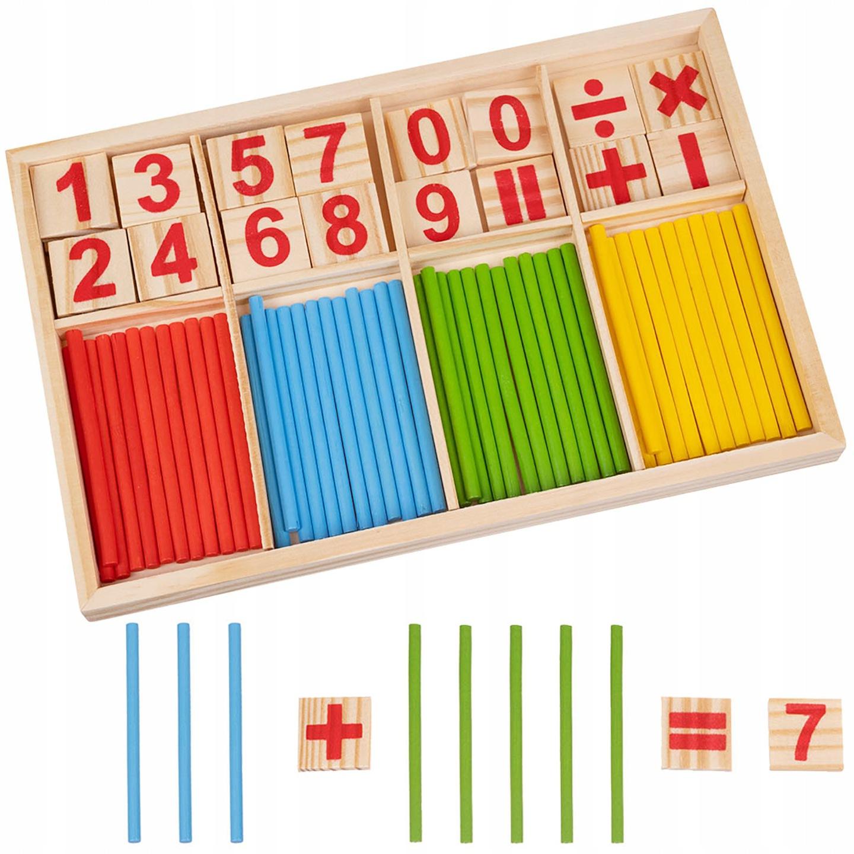 ISO Drevené počítadlo pre deti - počítacie tyčinky, 14843