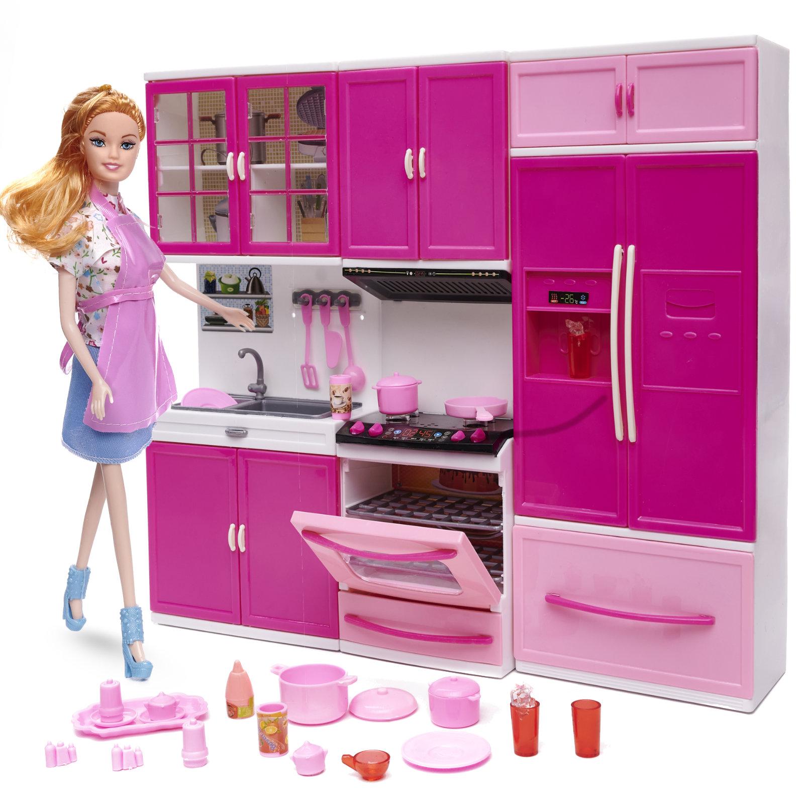 KIK Kuchynka pre bábiky sa 3 segmenty + bábika, KX6783