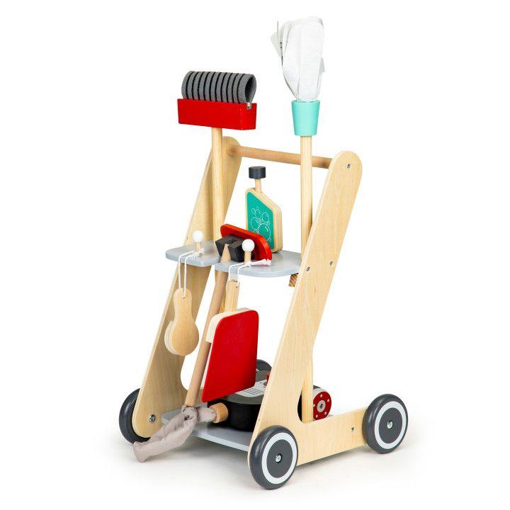 EcoToys Drevený upratovací vozík s príslušenstvom, 4404