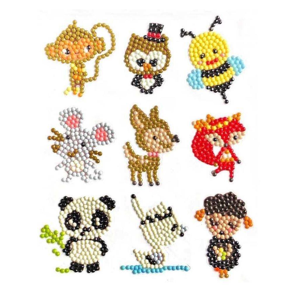 GFT Diamantové maľovanie pre deti samolepky - mix zvieratiek