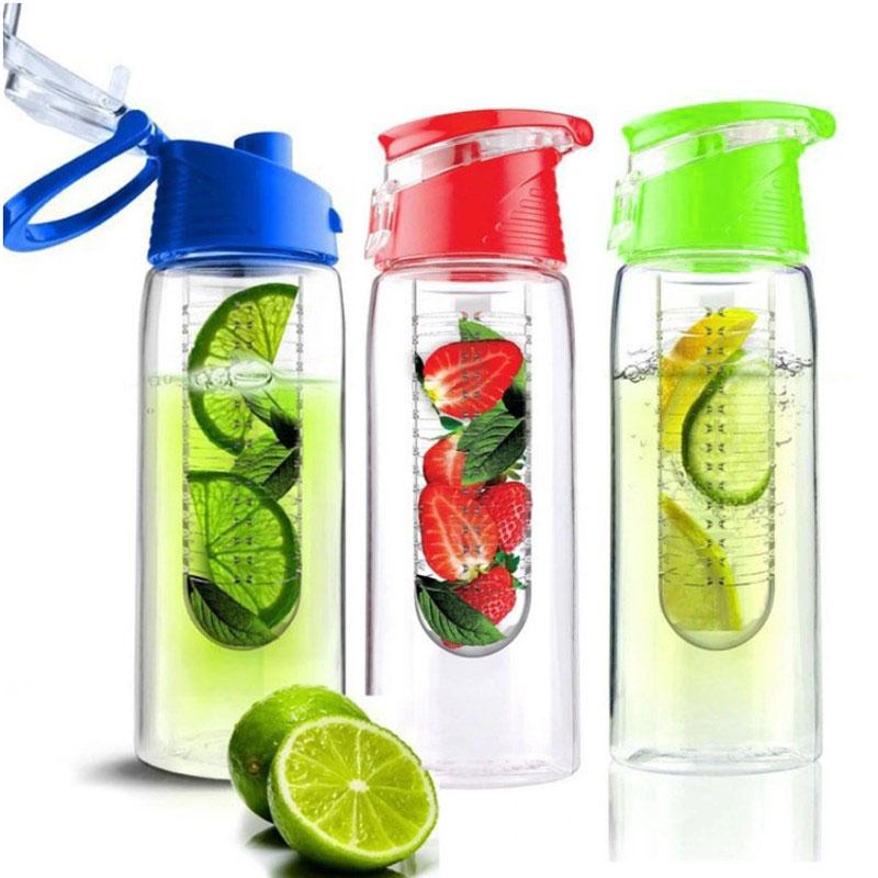 Pronett XJ021 Fľaša na vodu so sitkom na ovocie 800 ml COLOR