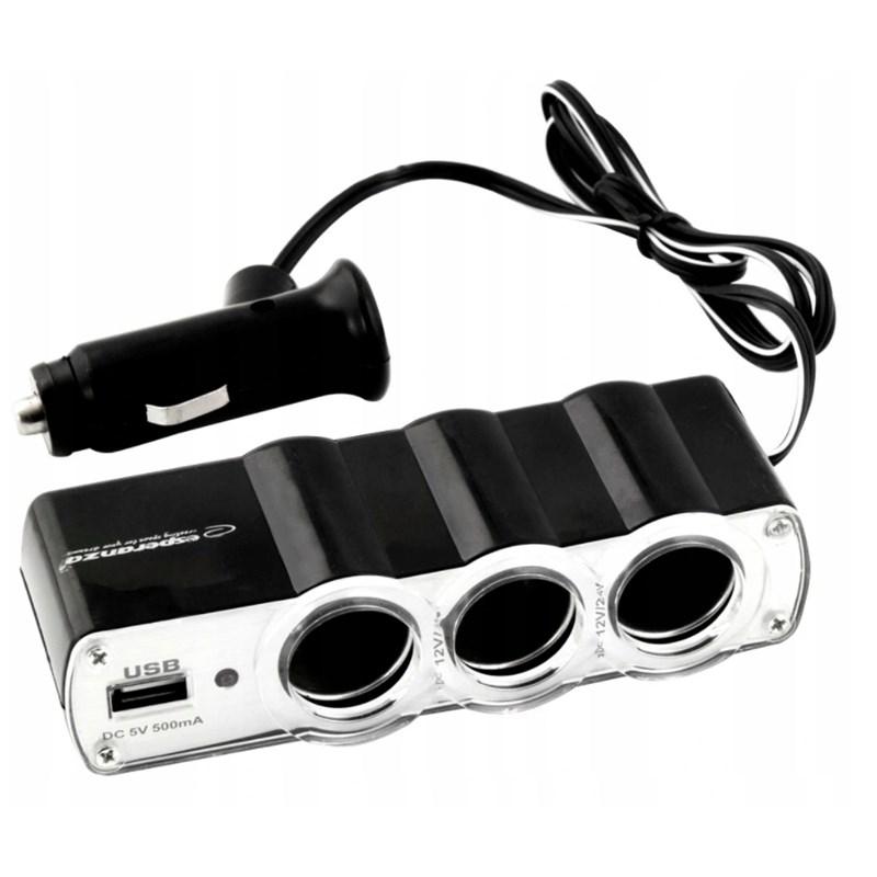 Pronett XA008 Rozbočovač do autozapalovača 3 x 12V + USB