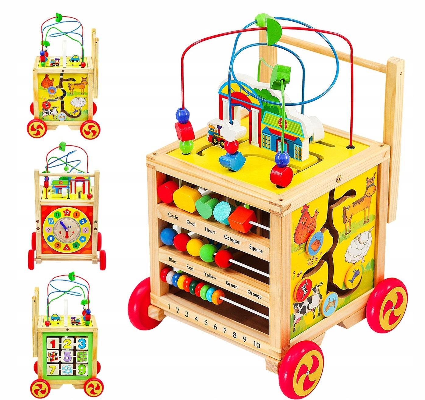 Kruzzel 15128 Veľká drevená motorická kocka - chodítko