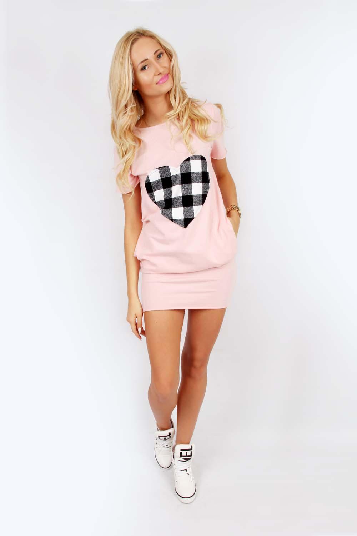 Slevnuj Pohodlné šaty s roztomilým srdcom, ružová s kockovaným srdcom, L-XL
