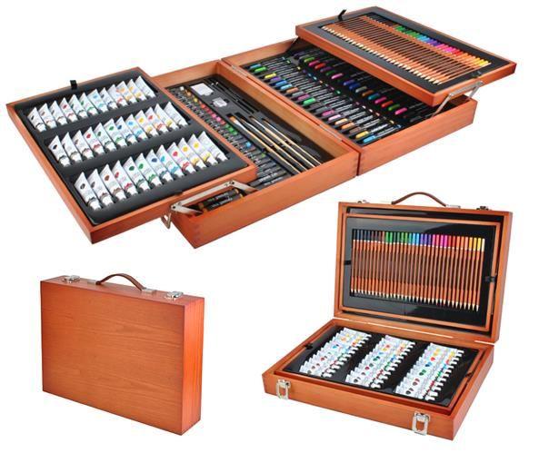 ISO Veľká sada v drevenom kufríku pre malé maliara 174 ks, 6004