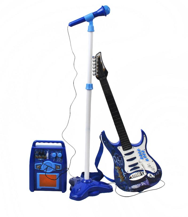ISO Detská rocková elektrická gitara na batérie + zosilňovač a mikrofón, modrá, 1554