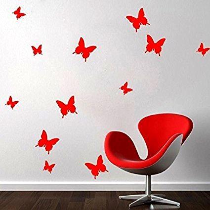 GFT 3D motýliky na stenu - červená