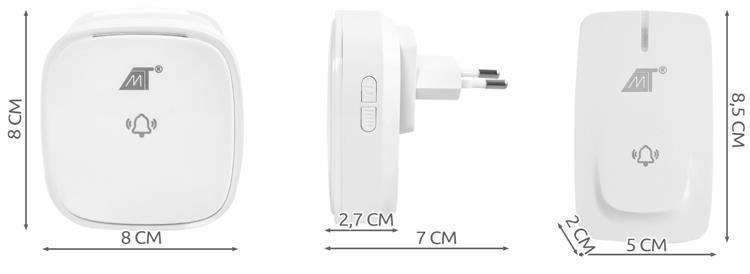 ISO Bezdrôtový zvonček 58 melódií, 2x príjmač AC, 1x ovládač, 150m, biela, 8926