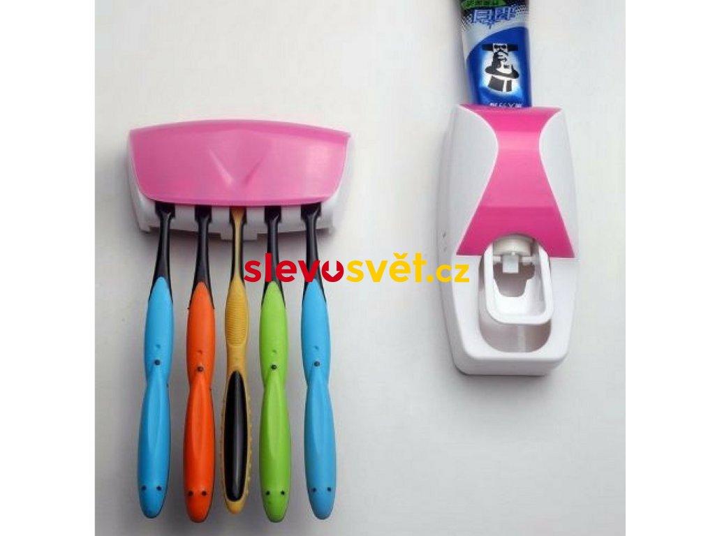 Praktický dávkovač zubní pasty s držákem pro 5 kusů kartáčků