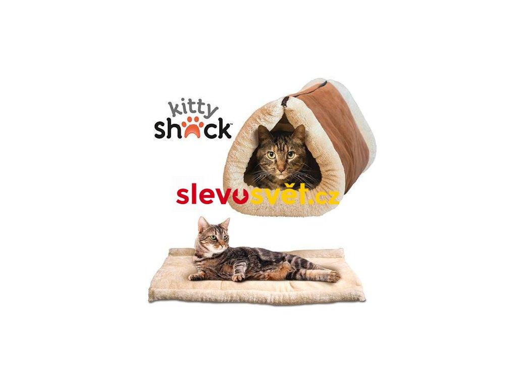 Plyšový pelech pro kočku 2v1 Kitty Shack