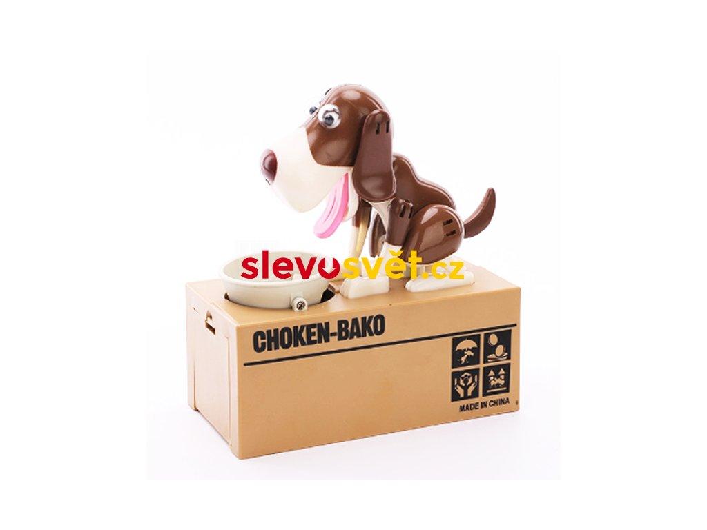 Pokladnička na mince - hladový pes hnědo-bílý