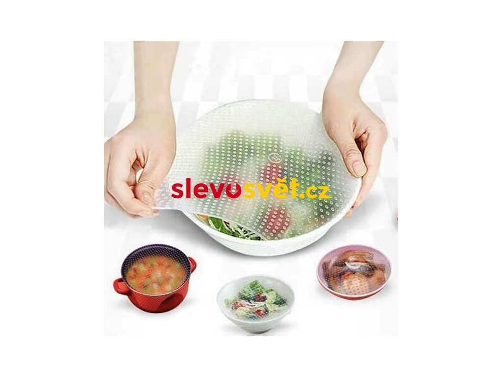 Silikonová folie na nádoby - Stretch and fresh 4 ks
