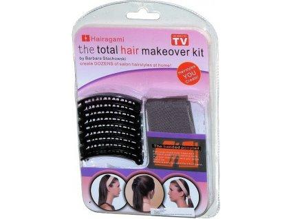 Čelenka a spona do vlasů  Hairagami - Total hair makeover kit - světle hnědá