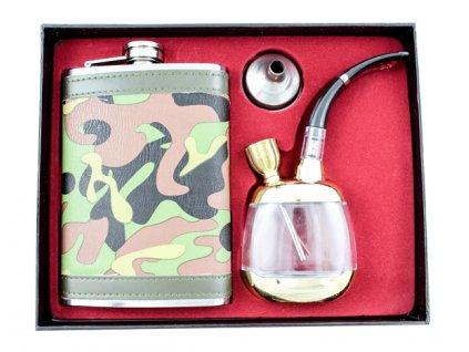 Nerezová placatka dárkový set s vodní dýmkou 250 ml