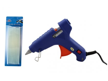 Tavná lepící pistole malá a sada 10 ks tavných tyčinek