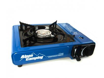 Kufříkový plynový vařič Alpen Camping 2v1 na propan-butan i kartuše modrý
