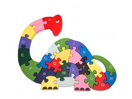 Vzdělávací dřevěné puzzle dinosaurus