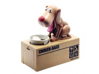 Pokladnička na mince - hladový pes hnědý