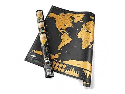 Stírací mapa světa - deluxe černá