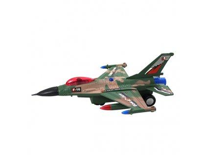 Stíhačka fighter bomber F-16 jezdí, hraje a svítí